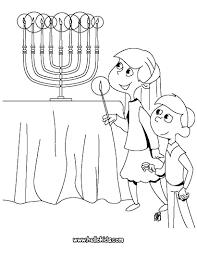 kids lighting menorah coloring pages hellokids