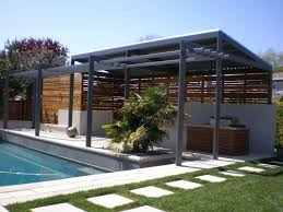 Patio Sun Shade Ideas Exterior Grey Wooden Pool Patio Shade Combined With Half Wooden