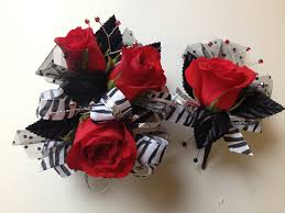 Corsage And Boutonniere For Prom Red Rose Prom Corsage With Matching Boutonniere Lets Dance