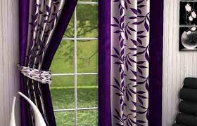 curtains window panels white painted wall bedroom floral purple