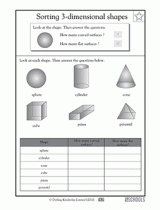 3rd grade 4th grade math worksheets 3 d shapes greatschools