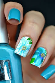 50 blue nail art designs light blue leaves and floral