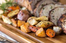 Glazed Root Vegetables Recipe - roasted pork loin