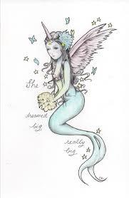 Mermaid Fairy Dream Big Unicorn Mermaid Fairy Queen Mini Art Print