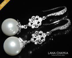 Chandelier Pearl Earrings For Wedding White Drop Pearl Chandelier Earrings Swarovski 10mm Pearl Dangle