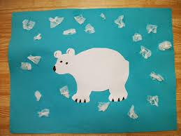 preschool crafts for kids easy polar bear tissue snow craft