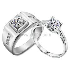 couples jewelry rings images Engraved 1 65 carat synthetic diamond white gold couples wedding jpg