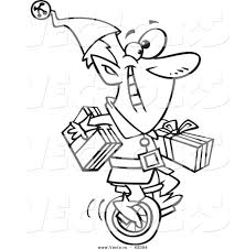 vector of a happy cartoon christmas elf carrying gifts on a