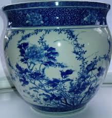 large japanese seto blue white porcelain signed hibachi jardinere