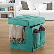Folding Ottoman Bed Anthology Sit U0026 Store Folding Ottoman In Tufted Aqua Bed Bath