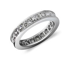 set ring channel set princess cut diamond eternity ring in platinum 4 ct