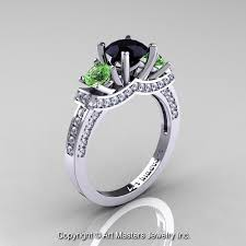 Black Diamond Wedding Rings by French 14k White Gold Three Stone Black Diamond Green Topaz