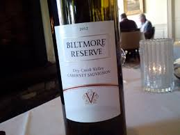 dinner in the dining room at the inn on biltmore estate red wine 2012 dry creek cabernet