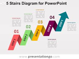 Powerpoint Diagram Templates Free 5 Staged Arrow Stair Powerpoint Free Ppt