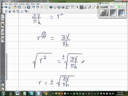 making r the subject of a formula volume of a cone pi 3 r 2 h
