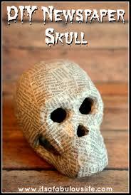 easy diy newspaper skeleton skull halloween decoration 30 min