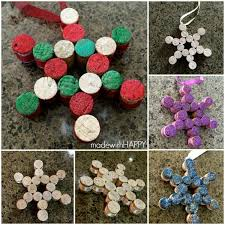 easy wine cork snowflake ornaments made with happy