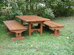 Plans For Building Picnic Table Bench by 8ft Trestle Style Picnic Table With Benches 002 Building Plans