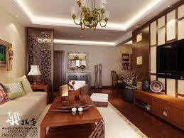 asian design living room bedroom divider wall flatscreen tv blue