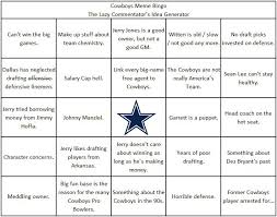 Dallas Cowboys Meme Generator - cowboys meme bingo or the lazy dallas cowboys commentator idea