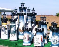 football themed lighthouse lawn ornament