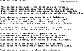 victoria dines alone by tom paxton lyrics and chords