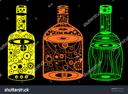 wine bottle halloween halloween party alcohol yellow orange green stock vector 87352127