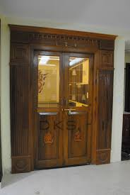 traditional pooja door with modern glass bell itching burma teak
