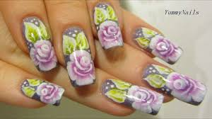 one stroke rose garden design in violet purple lime green and