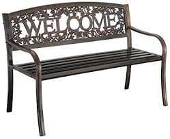 Bench Outdoor Furniture Amazon Com Metal Welcome Bench Outdoor Benches Garden U0026 Outdoor