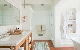 bathroom unfinished wood vanity wall mirror line rug