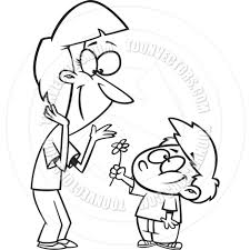 cartoon boy giving his mother a flower black and white line art