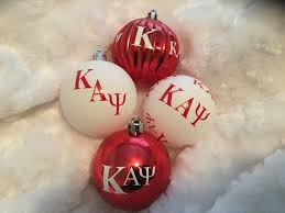 set of 4 fraternity ornaments inspired by kappa alpha psi phi nu pi
