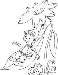elf sleeping flower coloring pages hellokids