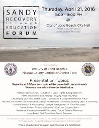 long beach ny county sandy recovery through education forum tonight from 6pm 9pm