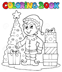 coloring book christmas elf theme 1 vector illustration royalty