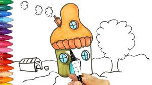 how to draw mushroom house how to draw and color kids tv youtube