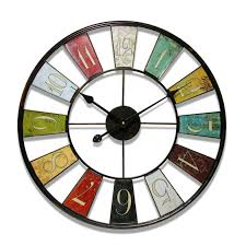 interesting clocks home decor fetching large clocks with colourful fan style metal