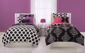 Black And White Polka Dot Curtains Bedroom Outstanding Black White Purple Bedroom Decoration With