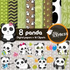panda clipart and digital paper