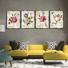 popular floral wall art buy cheap floral wall art lots from china 4 pieces classic floral wall art canvas prints flower combination home interior wall pictures for living
