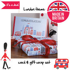 themed gifts london theme congratulations gift wrap and card set by piccalilly