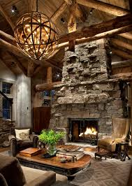 Great Room Chandeliers Great Room Fireplace Rustic Living Room Atlanta By Peace