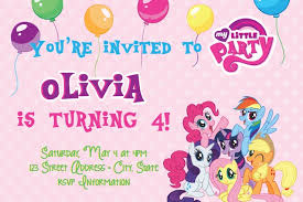 Mlp Birthday Card My Little Pony Party Invitations My Little Pony Party Invitations