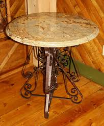 wrought iron table base for granite brown wrought iron table base with round cream granite top on brown