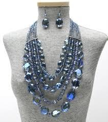 blue crystal necklace set images Statement multi strand crystal beaded necklace set blue jpg