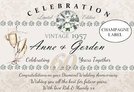 60th wedding anniversary wishes personalised 60th diamond wedding anniversary wine chagne
