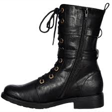 Onlineshoe Military Biker Ankle Boot Lace Up And Double Buckle