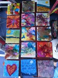 teaching kids how to use alcohol ink on regular bathroom tiles to
