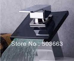 brand new bathroom basin sink glass spout waterfall faucet mixer